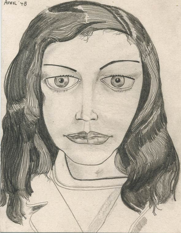 "Lucian Freud: ""Dark Coat II"", 1948 Pencil on paper, 11 3/8 x 8 3/8 in. © The Lucian Freud Archive"