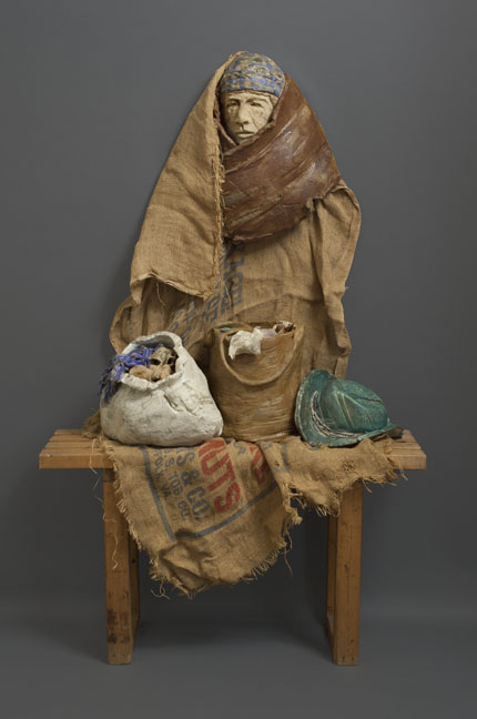ONCE UPON A TIME (1989) clay, wood, burlap, 63 in. x 48 in. x 14 in.